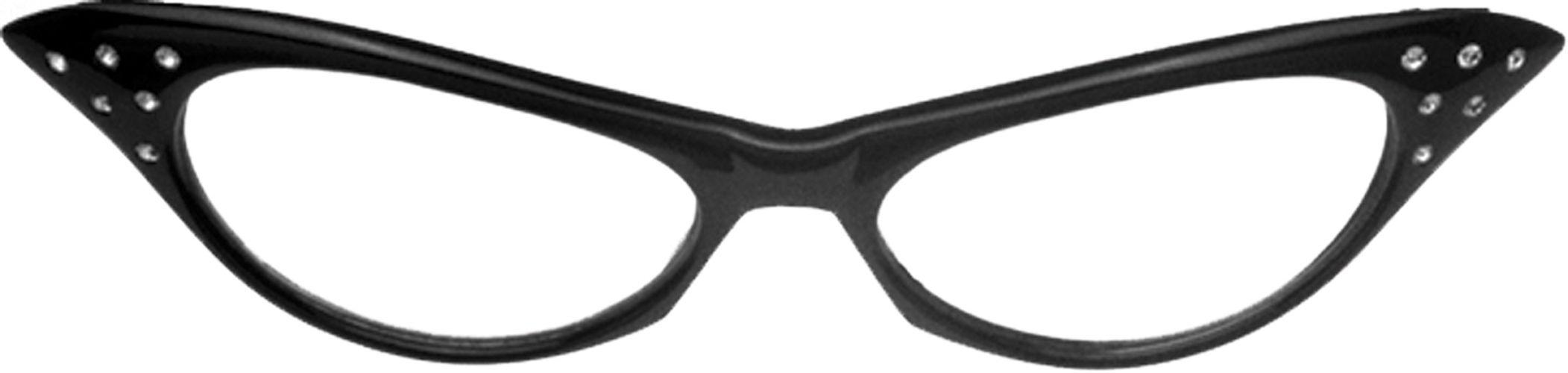 GLASSES 50'S RHINESTONE BK CLR