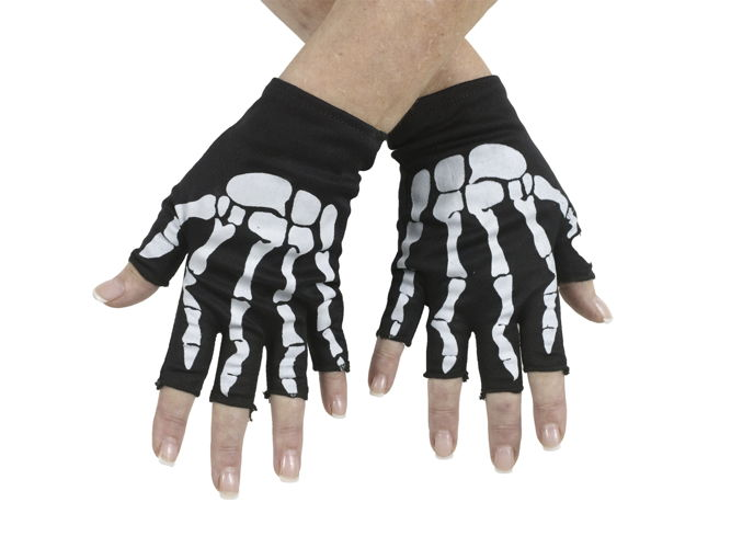 BONE FINGERLESS GLOVES BK/PK