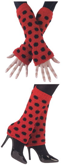 FUZZY ARM/LEG WARMERS BK/RED
