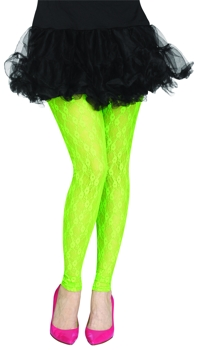 TIGHTS FOOTLESS GREEN LACE 80S