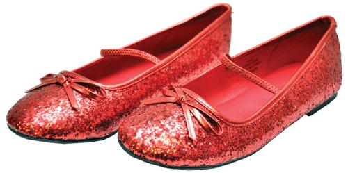 FLAT BALLET GLITTER CH RED LG