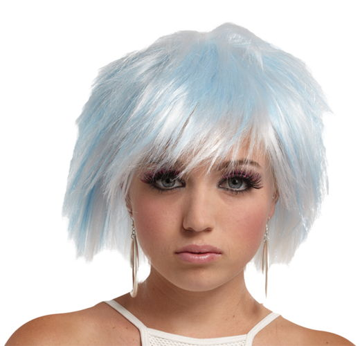 PUNKY PIXIE WIG WHITE-BLUE