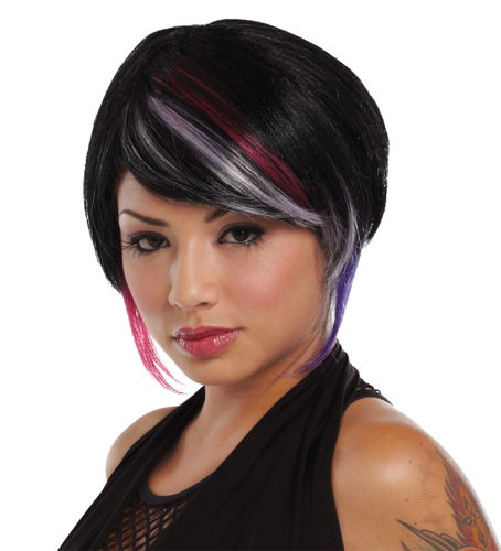 NEW RAVE WIG BLACK LAV HT PINK