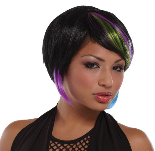 NEW RAVE WIG BLACK LIME BLUE