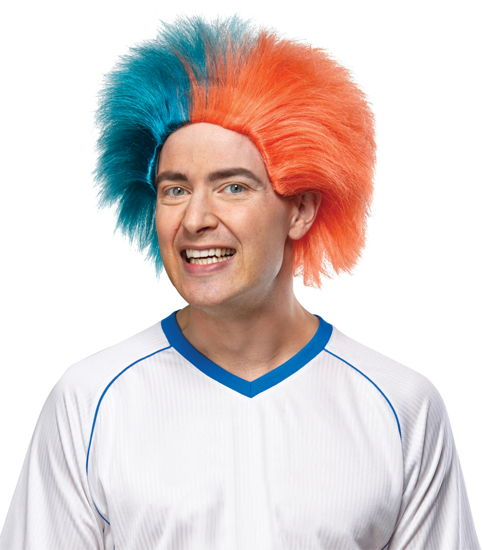SPORTS FUN WIG TEAL ORANGE