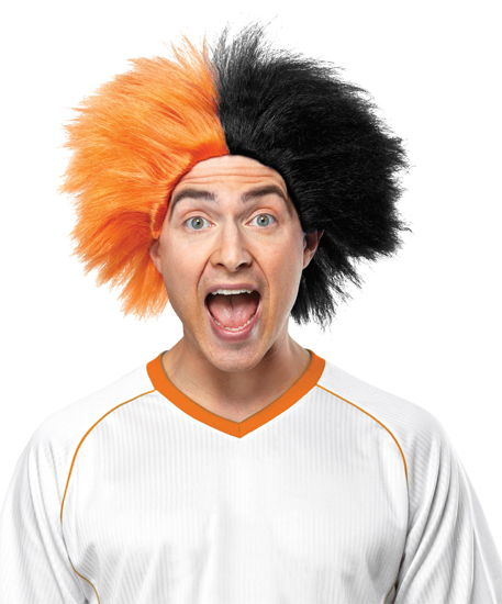 SPORTS FUN WIG ORANGE BLACK