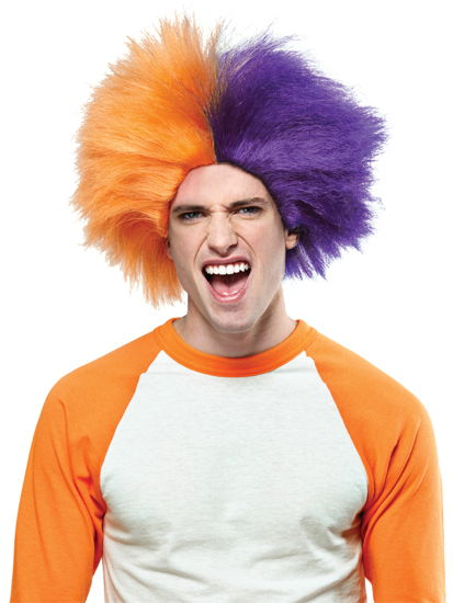 SPORTS FUN WIG ORANGE PURPLE