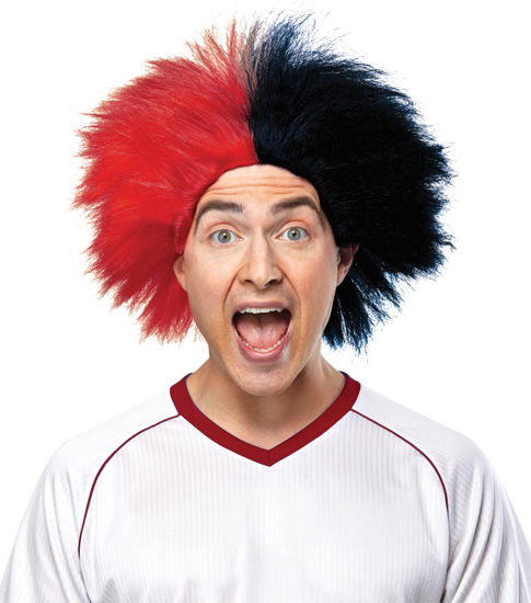 SPORTS FUN WIG RED BLACK