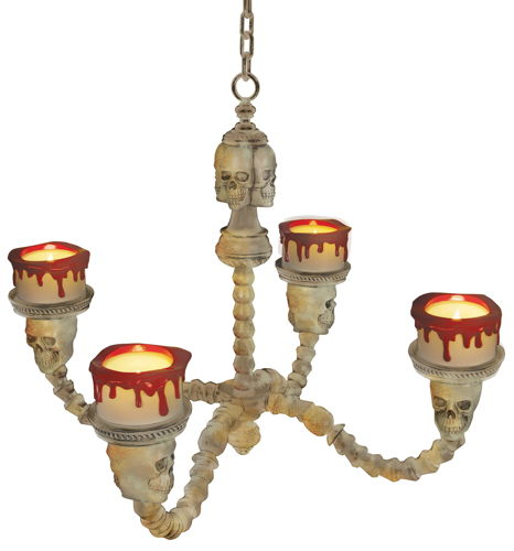 CHANDELIER LIGHTED BONE COLOR