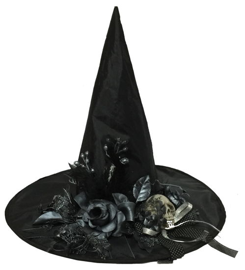 WITCH HAT W/BONE SKULL