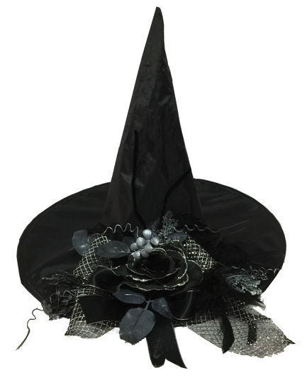 WITCH HAT W/BLACK FLOWER