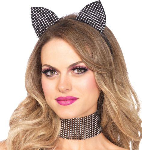CAT EARS & CHOKER RHINESTONE